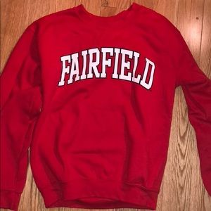 Red Fairfield University crewneck sweatshirt